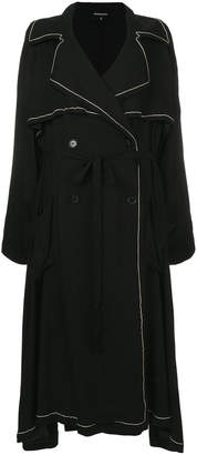 Ann Demeulemeester piped double breasted trench