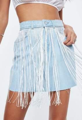 Missguided Blue Fringe Detail Denim Skirt