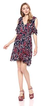 Romantic Dreamers Women's Ruffled Neck Wrap Dress Short Sleeve Floral ed