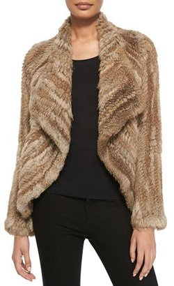 Belle Fare Open-Front Knitted Rabbit Jacket $369 thestylecure.com