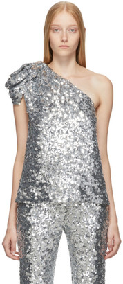 Halpern Silver Sequin Single-Shoulder Tank Top