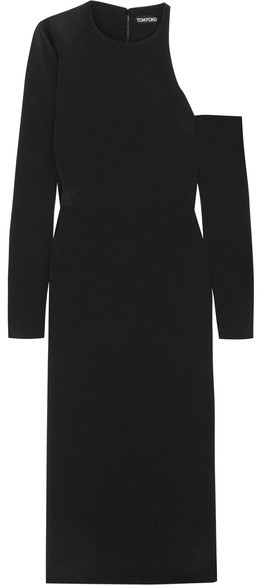 TOM FORD - Cutout Silk-crepe Midi Dress - Black