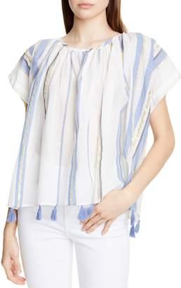 Mes Demoiselles Azur Tassel Hem Metallic Detail Cotton Blouse