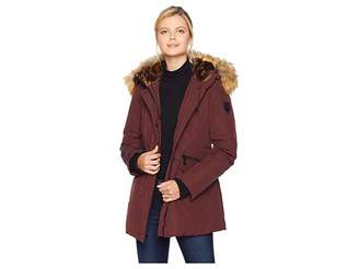 Vince Camuto Mid Length Down Coat with Faux Fur Hood and Storm Cuff R1081