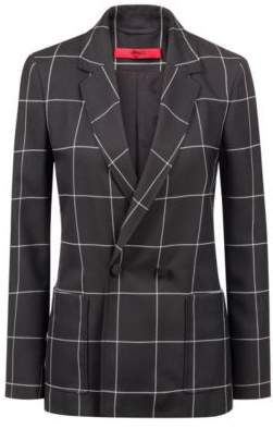 HUGO Boss Regular-fit double-breasted jacket a large-scale check 4 Patterned