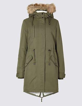 M&S Collection Faux Fur Parka with StormwearTM