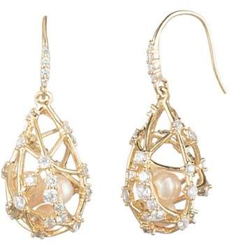 Carolee Caged Cultured Freshwater Pearl Drop Earrings