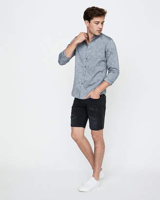 Express Slim Band Collar Button Front Shirt