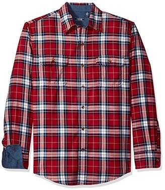 Izod Men's Long Sleeve Saltwater Twill Easycare Plaid Shirt