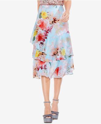 Vince Camuto Faded Blooms Floral-Print Tiered Skirt
