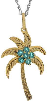 FINE JEWELRY Simulated Emerald Palm Tree Pendant Necklace