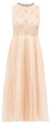RED Valentino Crystal Embellished Silk Organza Dress - Womens - Light Pink