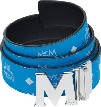 """MCM M Reversible Belt 1.75"""" In White Logo Visetos"""