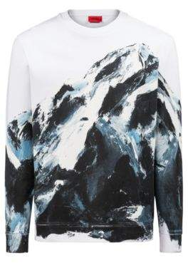 HUGO Boss Oversized-fit sweatshirt in cotton seasonal mountain graphic M Patterned