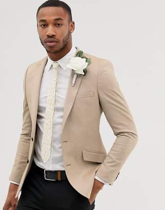 Asos Design DESIGN wedding skinny oxford blazer in camel
