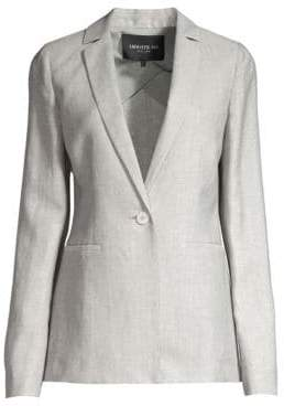 Lafayette 148 New York Women's Samson Single-Breasted Wool& Linen Blazer - Fog Melange - Size 2