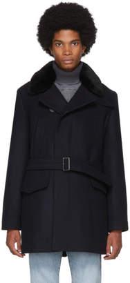 Yves Salomon Navy Down Wool Trench Coat