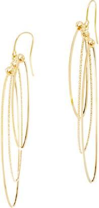 Italian Gold Polished & Textured Oval Dangle Earrings 14K