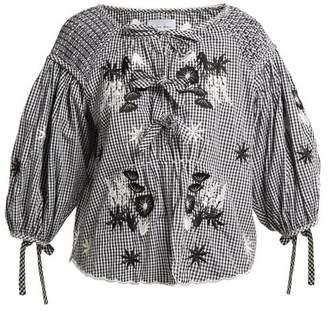 Innika Choo - Oliver Daily Gingham Cotton Top - Womens - Black Print