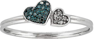 FINE JEWELRY White and Color-Enhanced Blue Diamond-Accent Double Heart Ring