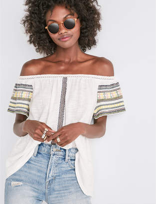 Lucky Brand Emb Off The Shoulder Top