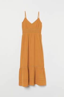 H&M Long Dress with Lace Details - Yellow