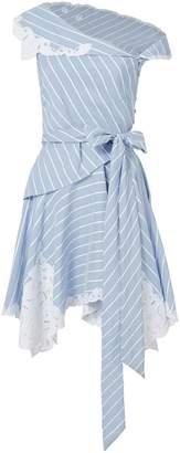 Jonathan Simkhai Off Shoulder Lace Stripe Mini Dress