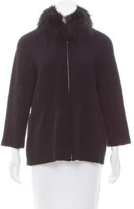 Prada Fox Fur-Trimmed Virgin Wool Sweater