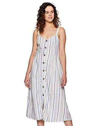 Serene Bohemian Summer Button Down Strap Midi Stripes Dress with Smocking Detail (