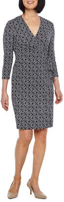 Evan Picone BLACK LABEL BY EVAN-PICONE Black Label by Evan-Picone 3/4 Sleeve Medallion Wrap Dress