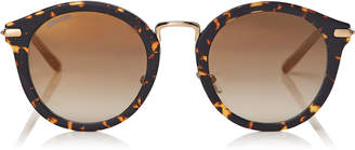 Jimmy Choo BOBBY Dark Havana Round Frame Sunglasses with Gold Mirror Lenses