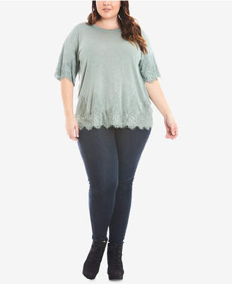 Eyeshadow Trendy Plus Size Lace-Trim T-Shirt