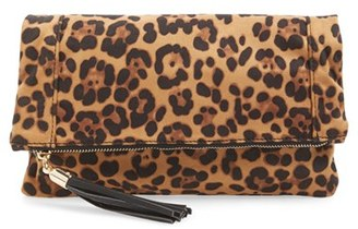 Sole Society 'Tasia' Print Foldover Clutch - Brown $39.95 thestylecure.com
