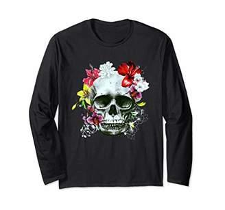 Skull With Summer Flowers Shirt Beautiful Adversity Gift Long Sleeve T-Shirt