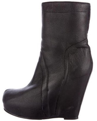 Rick Owens Shearling Platform Ankle Boots $300 thestylecure.com