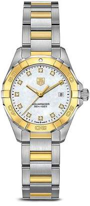 Tag Heuer Aquaracer 300M Quartz Stainless Steel and 18K Yellow Gold Watch with Diamonds, 27mm