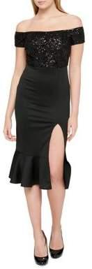GUESS Sequin Slit Bodycon Dress