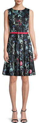 Tommy Hilfiger Monaco Floral Print Belted Fit-and-Flare Dress