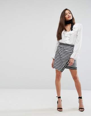 PrettyLittleThing Houndstooth Wrap Mini Skirt