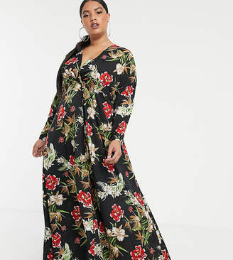 PrettyLittleThing Plus Plus maxi dress with twist front in black floral