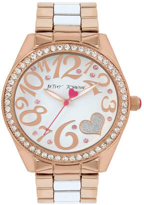 Betsey Johnson Rose Gold and White Watch