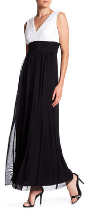 Marina Plunging Colorblock V-Neck Chiffon Gown $189 thestylecure.com