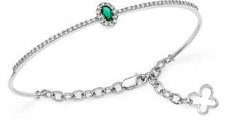 Bloomingdale's Emerald and Diamond Bangle in 14K White Gold - 100% Exclusive
