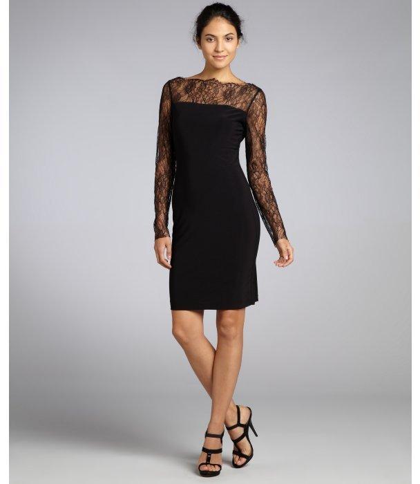 A.B.S. by Allen Schwartz black stretch jersey lace long sleeve dress