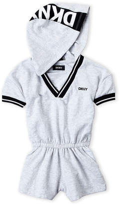 DKNY Toddler Girls) V-Neck Hooded Varsity Romper