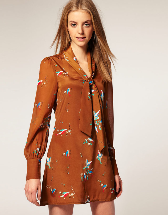 Vero Moda Chiffon Pussy Bow Deco Bird Print Tunic Dress Sheer