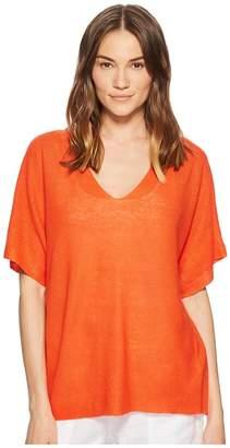 Eileen Fisher Deep V-Neck Top Women's Short Sleeve Pullover