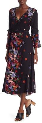 Dance and Marvel Floral Bell Sleeve Midi Wrap Dress