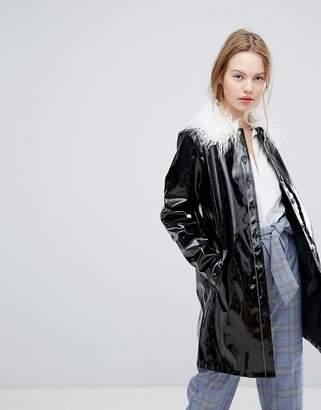 Plain Studios High Shine Jacket With Faux Mongolian Collar