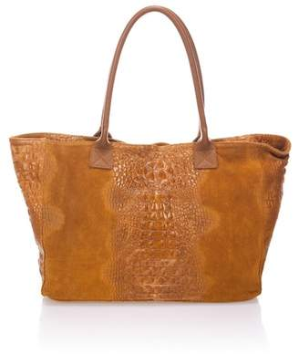 Lisa Minardi Croc Embossed Leather Tote Bag